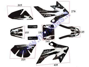 STICKER DECAL SET WOLF BLACK