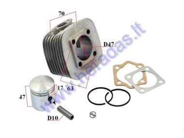 Cylinder+piston set for 80cc motorized bicycle D47