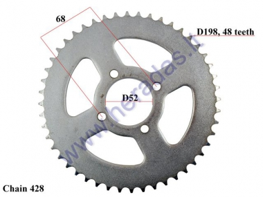 REAR SPROCKET FOR D out 198, 48 teeth 428 chain type