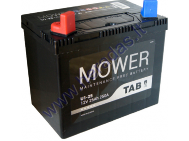 LAWN MOWER battery TAB GARDEN U1 12V 25Ah 250A PERFECT CHOICE FOR LAWN MOWERS WITH STANDARD ELECTRICAL SYSTEM Length: 196 mm Width: 127 mm Height: 185 mm