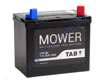 LAWN MOWER BATTERY TAB GARDEN U1R 12V 32Ah 350A  PERFECT CHOICE FOR LAWN MOWERS WITH STANDARD ELECTRICAL SYSTEM LENGTH: 196 mm WIDTH: 127 mm HEIGHT: 185 mm