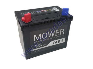 LAWN MOWER BATTERY TAB GARDEN U1 12V 32Ah 350A PERFECT CHOICE FOR LAWN MOWERS WITH STANDARD ELECTRICAL SYSTEM LENGTH: 196 mm WIDTH: 127 mm HEIGHT: 185 mm