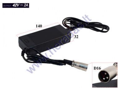 36V LITHIUM-ION BATTERY CHARGER. SUITABLE FOR ELECTRIC SKATEBOARD, ELECTRIC BICYCLE, for other electronic devices  (42V -2A) CONNECTION Cannon