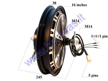 ELECTRIC MOTOR SCOOTER REAR TYRE WITH ENGINE 16 inches 60V 1kW for EPICO
