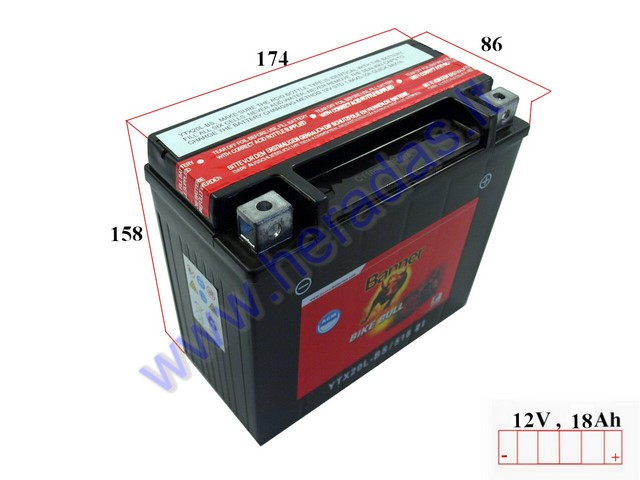 battery 12v banner agm ytx20l bs. Black Bedroom Furniture Sets. Home Design Ideas