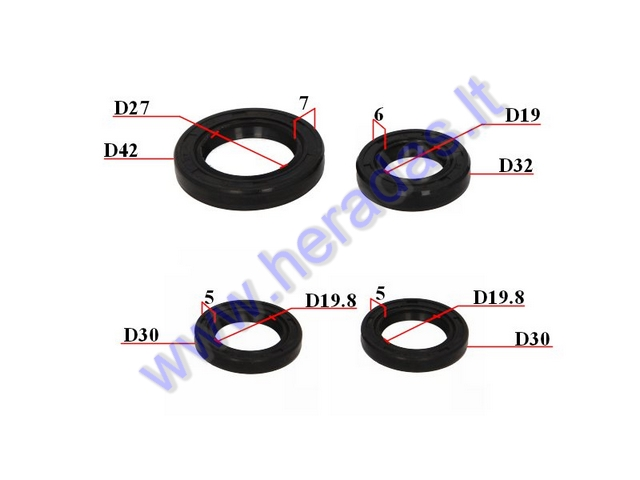 OIL SEAL SET FOR SCOOTER GY6 125-150cc 19/32/6 27/42/7 19 8/30/
